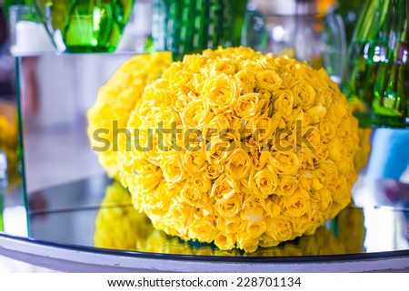 Lovely beautiful flowers in the lobby of luxury hotel - stock photo
