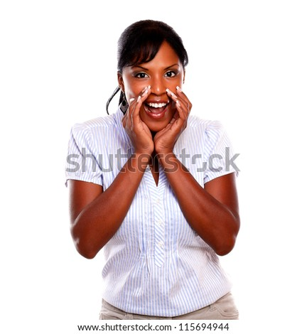 Lovely black young woman screaming to you on isolated background - stock photo