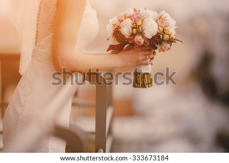 lovely blond summer wedding couple in sunny weather - stock photo