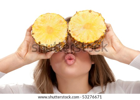 lovely blonde with pineapple - stock photo