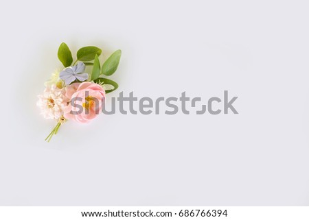 Lovely boutonniere flower bouquet  on white background.