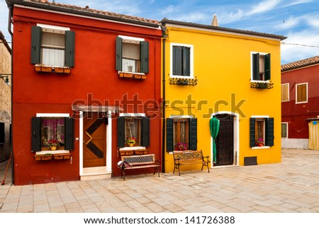 Lovely buildings in Burano Island, Italy. - stock photo