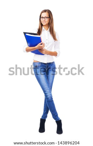 Lovely businesswoman with documents against white background - stock photo