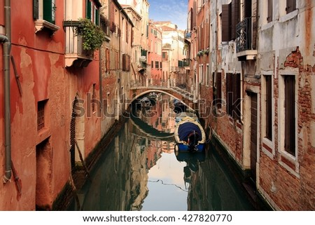 Lovely canals in the sestiere of Venice island in Italy.