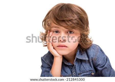 Lovely caucasian blonde kid posing for camera - stock photo