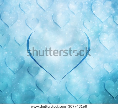 Lovely Christmas and New Year Holiday greeting card with illustrated hearts symbols and beautiful snowfall effect. Magic winter season love greeting card illustration background. - stock photo