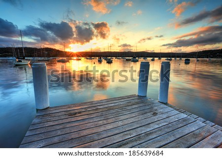 Lovely colours as the sun sets at Point Frederick, Gosford NSW, Australia - stock photo