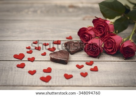 Lovely composition of valentines day symbols - stock photo
