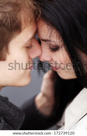Lovely couple do love each other very well - stock photo