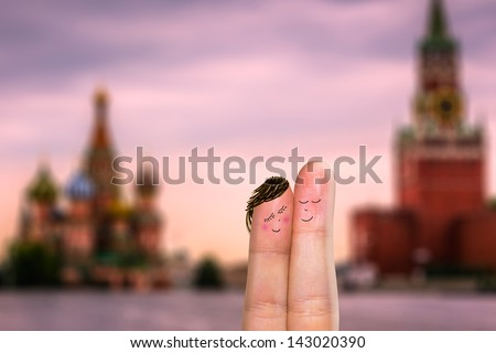 Lovely couple fingers in Moscow - stock photo