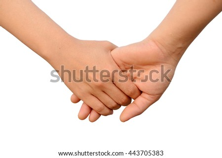 Lovely couple holding hands with white background. Concept about love and relationship. (Isolated)