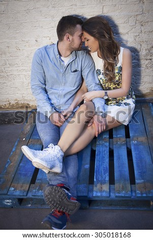 lovely couple over grungy background - stock photo