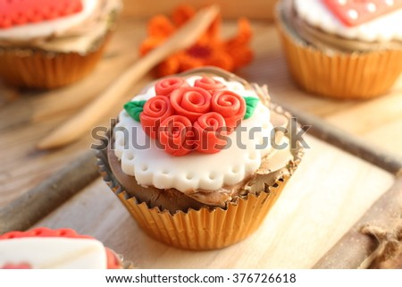 lovely cup cake for special holiday, valentine, birthday, celebrations