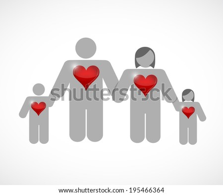 lovely family. huge hearts. illustration design over a white background