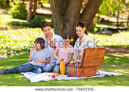 Lovely family picnicking in the park