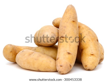 lovely fingerling potatoes isolated on white  - stock photo