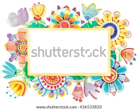 Lovely floral watercolor frame. Primitive colorful decorative flowers and leaves. Rectangular shape. Warm red orange yellow colors. - stock photo
