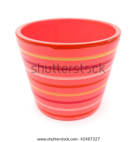Lovely flowerpot pink with yellow, red and white stripes