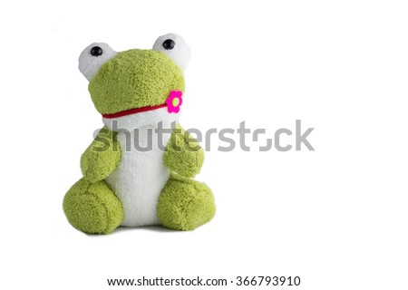 lovely frog doll isolate on white background with clipping,selection,paths  - stock photo