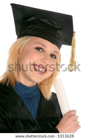 lovely girl holding diploma as she graduate's on white background