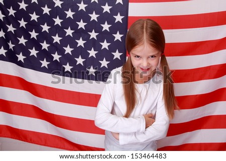 lovely girl over USA flag