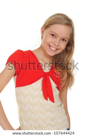 Lovely girl showed herself in the photos in all her  glory - stock photo