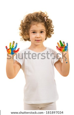 Lovely girl showing her painted hands isolated on white background