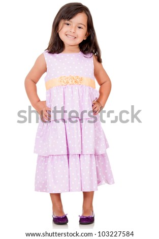 Lovely girl wearing a beautiful dress - isolated over a white background - stock photo