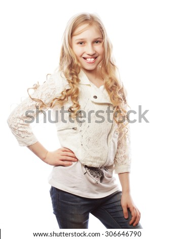 Lovely girl with long blond hair, isolated on white - stock photo