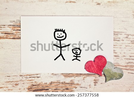 lovely greeting card - happy fathers day matchstick man - stock photo