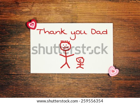 lovely greeting card - happy fathers day - Matchstick man - stock photo