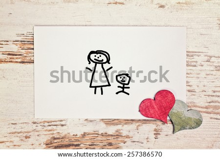lovely greeting card - happy Mothers day with matchstick man - stock photo