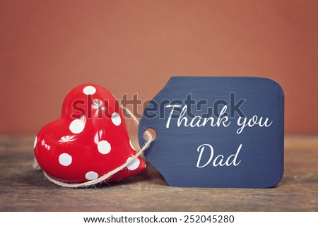 lovely greeting card - thank you dad - stock photo