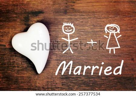 lovely greeting card - wedding - stock photo
