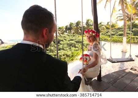 Lovely happy couple after wedding - stock photo
