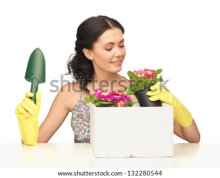 lovely housewife with flower in pot and gardening set