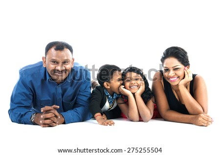 Lovely indian family - stock photo
