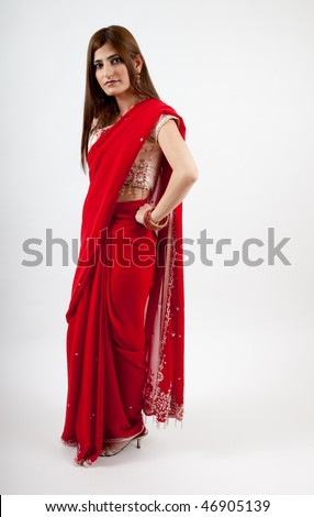 Lovely indian woman full length, in traditional dress
