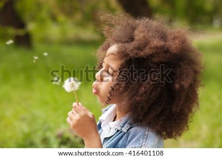 Lovely little girl blowing on a dandelion - stock photo