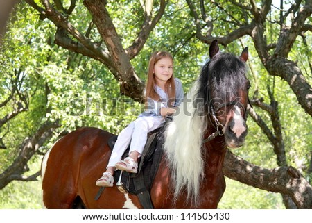 Lovely little girl on a horse - stock photo