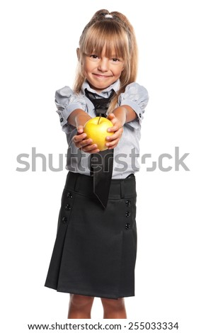 Lovely little girl with fresh apple on white background - stock photo