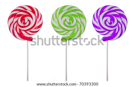 Lovely lollipops with different stripes on white background - stock photo