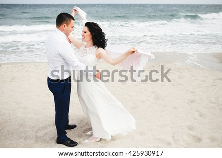 Lovely married on the beach