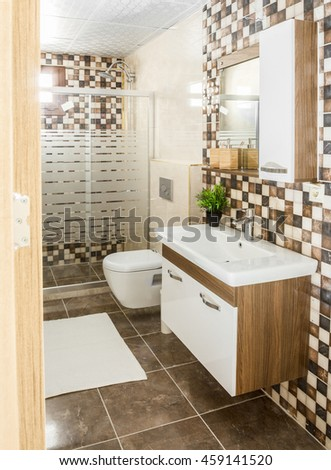 Lovely master bathroom with stone floor and shower