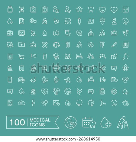 lovely 100 medical icons set over turquoise background - stock photo