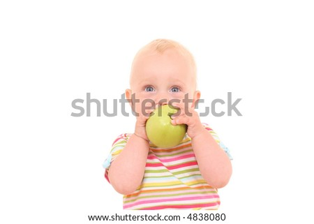 lovely 10 months baby girl with green apple isolated on white