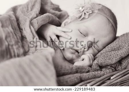 lovely newborn girl is sleeping