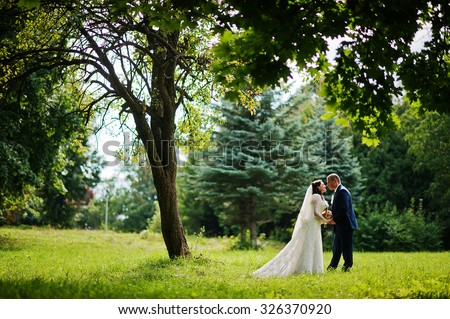 lovely newlywed at nature park square - stock photo