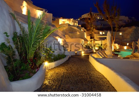 lovely nights atmosphere on the hotel - stock photo