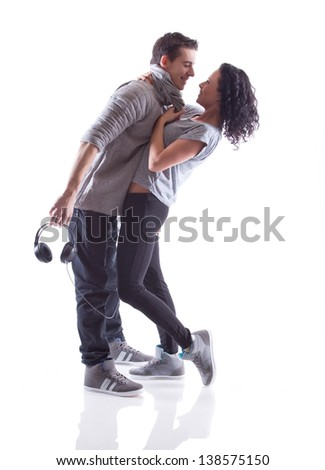 Lovely passion dance couple - stock photo